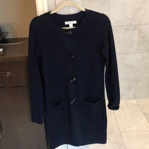 Sz S Ellen Tracy Navy toggle cardigan sweater